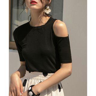 MIGU - Cold-Shoulder Short-Sleeve Knit T-Shirt