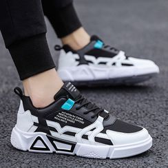 TATALON - Lettering Mesh Panel Lace-Up Sneakers