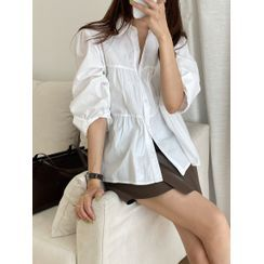 BLAHLA - Long-Sleeve Tiered Button-Up Blouse