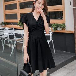 Meatacci - Short-Sleeve Ruffled Crinkled A-Line Mini Dress