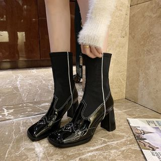 clog & wings - Faux Leather Panel Block Heel Short Boots