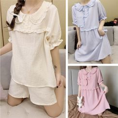 Tanee - Short-Sleeve Dotted Sleepdress / Pajama Set: Short-Sleeve Dotted Top + Shorts