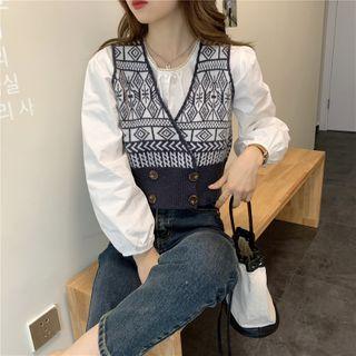 JIUHOJI(ジウホジ) - Patterned Knit Vest / Balloon-Sleeve Blouse