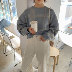 MERONGSHOP - Oversized Cropped Plaid Knit Top