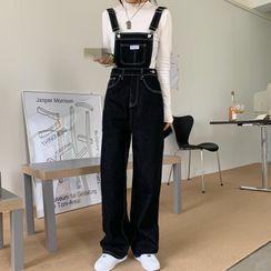 Shopherd - Contrast Stitching Denim Jumper Pants