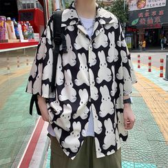 Sartho - Elbow-Sleeve Rabbit Print Shirt