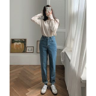 SIMPLY MOOD - Washed Straight-Cut Jeans
