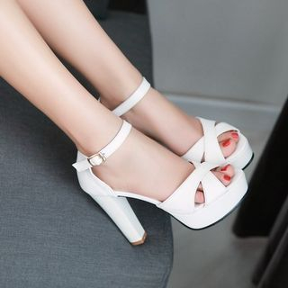 Shoes Galore - Ankle Strap Chunky Heel Platform Sandals