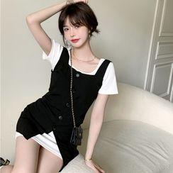Allizzwell - 短袖纯色修身连衣裙 / 扣钮背心连衣裙