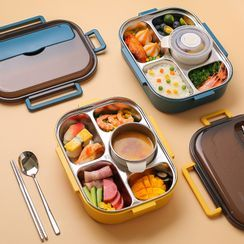 Kawa Simaya - Set: Stainless Steel Divided Lunch Box + Spoon + Chopsticks + Soup Container