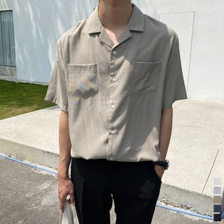 Seoul Homme - Dual-Pocket Linen Blend Shirt