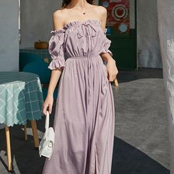 Melekok - Off-Shoulder Lantern-Sleeve Midi Sundress
