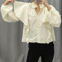 Dewewan - 长袖荷叶边衬衫