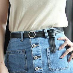 Leatha - Round Buckle Holeless Faux Leather Belt