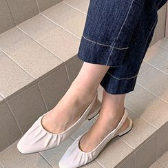 FROMBEGINNING - Square-Toe Ruched Slingback Flats