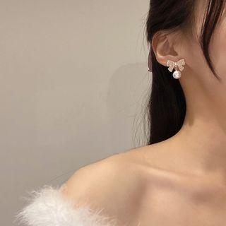 Yambo - Bow Faux Pearl Drop Earring