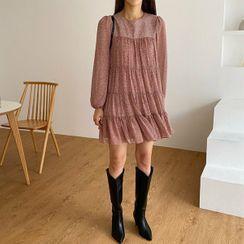Seoul Fashion(ソウルファッション) - Tiered Leopard Chiffon Mini Dress