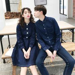 Bay Go Mall - Couple Matching Long-Sleeve Denim Shirt / Mini A-Line Dress