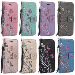 Cellsha - 花朵壓紋 iPhone 6S / 6S Plus / 7 / 7 Plus / 8 / 8 Plus / X / XS / XR / XS MAX Case