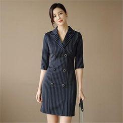 CHICLINE - TALL SIZE Elbow-Sleeve Stripe Coatdress