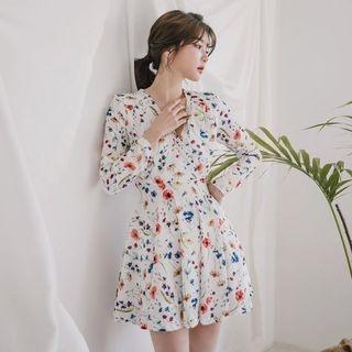 Seoul Fashion - Hanbok Flared Mini Dress (Floral / White)
