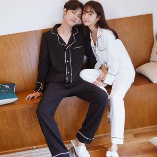 Endormi - Couple Matching Pajama Set: Contrast Trim Shirt + Pants