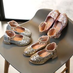 Luco - Kids Sequined Ankle Strap  Pumps
