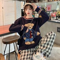 Miaow - Bear Print Sweater / Knit Vest