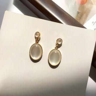 Yambo - Gemstone Dangle Earring / Clip On Earring