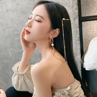 Pop Lop - Faux Pearl Chained Hair Pin Earring
