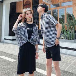 Bonne Nuit - 情侣短袖格子衬衫 / 假两件七分袖连衣裙 / 短裤