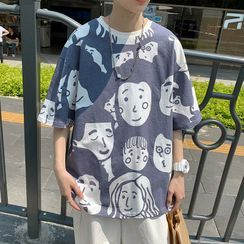 Barlowe - Elbow-Sleeve Print T-Shirt