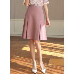 Styleonme - Pleated Midi Flare Skirt