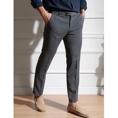 STYLEMAN - Band-Waist Straight-Cut Dress Pants