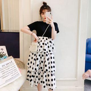 Mamaladies - Maternity Dotted Short-Sleeve Layered Midi A-Line Dress