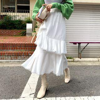 DEEPNY - Deep-Slit Ruffled Long Skirt