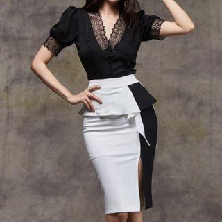 Aurora - 套装: 短袖蕾丝边衬衫 + 双色荷叶腰裙