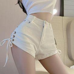 Miusee - 系带牛仔热裤