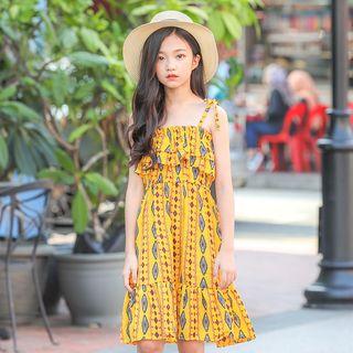 Madalee - Girls Spaghetti Strap Pattern Dress