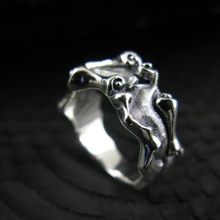 Sterlingworth - Engraved Gothic Sterling Silver Ring