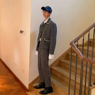 Freehop - Houndstooth Button-Up Jacket / Dress Pants