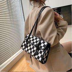 Kunado - Checkerboard Pattern Shoulder Bag