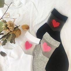 Hello minto - Heart Print Transparent Panel Socks