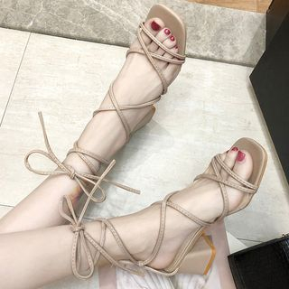 Weiya - Block Heel Lace Up Sandals