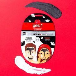 Yes To - Yes To Tomatoes: Yin & Yang Double Masking Kit - Detoxifying & Hydrating Black + White Charcoal Mud Mask (Set of 6)