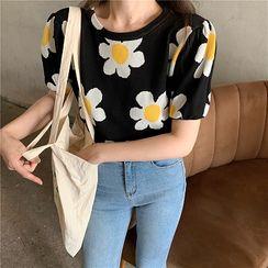 Attune - Short-Sleeve Flower Knit Top