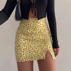 Genrovia(ジェンロビア) - Floral Print Mini Fitted Skirt