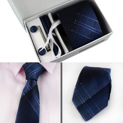 Seaton - Set: Patterned Tie + Pocket Square + Cuff Link
