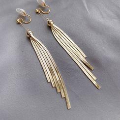 Mimishi - Fringe Drop Ear Stud / Clip-On Earring