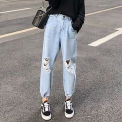 DREE - Distressed Cropped Harem Jeans